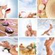 Beautiful spa collage made of nine elements — Stockfoto