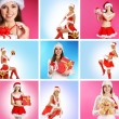 Stock Photo: Beautiful Christmas collage made of some pictures over blue and pink background