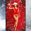 Christmas collage with some sexy girls in lingerie over snowy background — Stock Photo #15363925