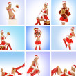 Beautiful Christmas collage made of some pictures over blue and pink background — Stock Photo #15363931
