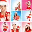 Beautiful Christmas collage made of some pictures over blue and pink background — Stock Photo #15363933