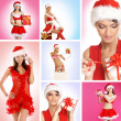 Beautiful Christmas collage made of some pictures over blue and pink background — Stock Photo
