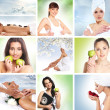 Beautiful dieting collage made of some pictures — Stockfoto