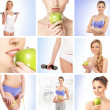 Stock Photo: Collage about sport, dieting and healthy eating