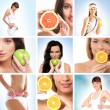 Beautiful collage about health, sport and dieting — Stock Photo #15363997