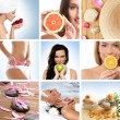 Stock Photo: Beautiful collage about health, sport and dieting