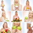Beautiful collage about healthy eating and nutrition - Stock Photo