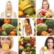 Collage about sport, dieting and healthy eating — Stock Photo #15364091