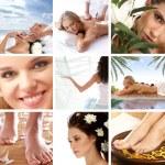 有关健康、 美容、 运动、 冥想和 spa 大拼贴画 — 图库照片