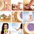 collage di alcune foto su salute, bellezza, spa e dieta — Foto Stock