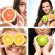 Collage made of some photos about health, beauty, spa and dieting — Stock Photo #15364375