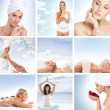 Stok fotoğraf: Beautiful spa and health collage made of many elements
