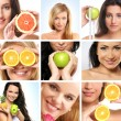 Stock Photo: Collage made of some photos about health, beauty, spa and dieting