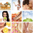 Foto Stock: Beautiful collage about healthy eating and healthcare