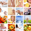 Beautiful collage about healthy eating and healthcare — Stockfoto #15364399