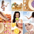 Beautiful collage about healthy eating and healthcare — Stockfoto