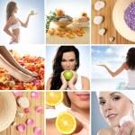 vackra collage om hälsosam kost och hälso-och sjukvård — Stockfoto