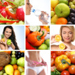 Beautiful collage about healthy eating and healthcare — Stock Photo
