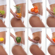 Collage of some photos with sporty belly and fruits — Stock Photo