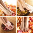 Royalty-Free Stock Photo: Collage with beautiful legs over spa background
