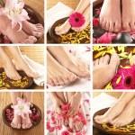 colagem com belas pernas sobre fundo de spa — Foto Stock