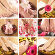 Collage with beautiful legs over spa background — 图库照片 #15364559