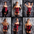 Young and beautiful redhead cabaret dancer over vintage background - Stock Photo