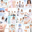 Plastic surgery collage made of some different pictures - Stock Photo