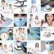 kolaj yapılmış tıbbi bazı unsurları — Stok fotoğraf