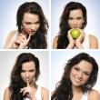 A collage of images with a young brunette woman - Foto Stock