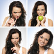 A collage of images with a young brunette woman - Stockfoto