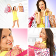 Collage about young sexy female shopper — Foto Stock