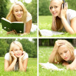 Stock Photo: Young beautiful girl reading