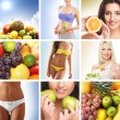 Beautiful collage about healthy eating and nutrition — Stock Photo