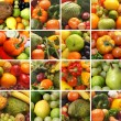 Collage made of many images of different fruits and vegetables — 图库照片