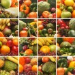 Collage made of many images of different fruits and vegetables — Stock Photo #15365249