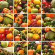 Collage made of many images of different fruits and vegetables — Stock Photo