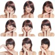 Many portraits of young and healthy brunette isolated on white — Stockfoto