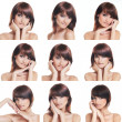 Many portraits of young and healthy brunette isolated on white — Stock Photo