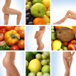 Beautiful collage about healthy eating and healthcare — Stockfoto #15365297