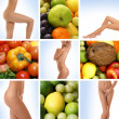 Beautiful collage about healthy eating and healthcare — 图库照片 #15365297
