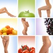 Beautiful collage about healthy eating and healthcare — Stockfoto #15365299