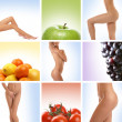 Beautiful collage about healthy eating and healthcare — Stock fotografie #15365299