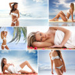 Spa collage with some nice shoots of young and healthy women getting recreation treatment — Stok fotoğraf