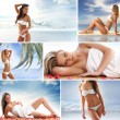 Spa collage with some nice shoots of young and healthy women getting recreation treatment — 图库照片