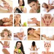 Great collage made of 36 pictures about health, dieting, sport a — Stock Photo