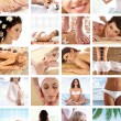 Stockfoto: Great collage made of 36 pictures about health, dieting, sport a