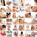gran collage de 36 fotos sobre salud, dieta, deporte un — Foto de Stock