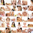 Great collage made of 36 pictures about health, dieting, sport and spa — Stock Photo