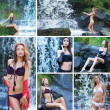 Young sexy women near the waterfall — Stock Photo